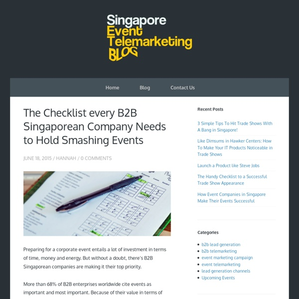 The Checklist every B2B Singaporean Company Needs to Hold Smashing Events