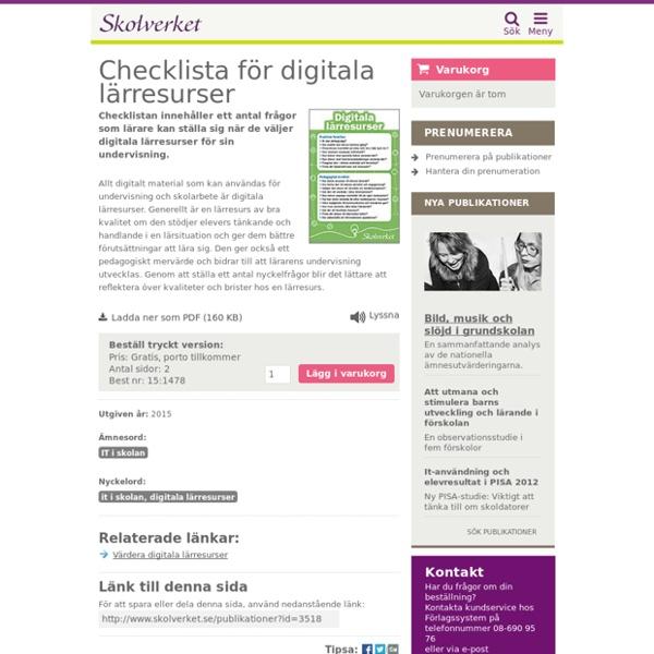 Checklista för digitala lärresurser