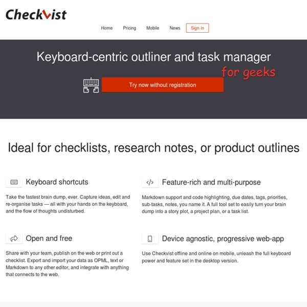 Collaborative online outliner and checklist