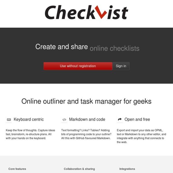 Online outliner and task manager for geeks