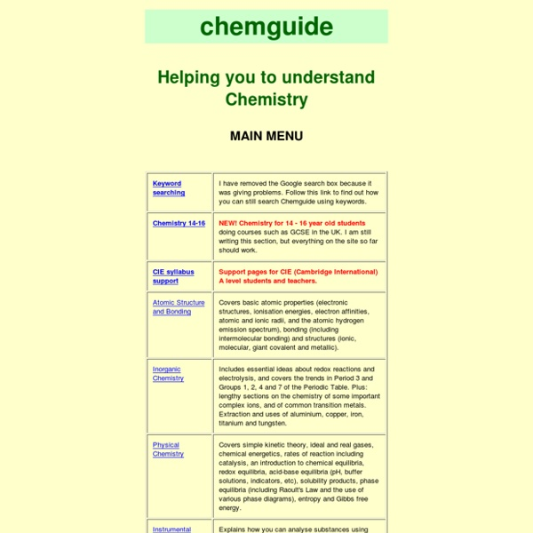 Chemguide: helping you to understand Chemistry