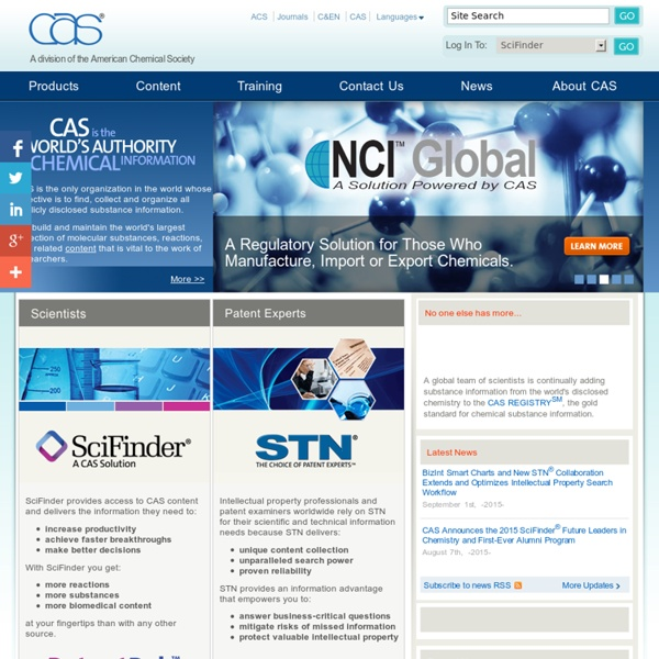 CAS, Chemical Abstracts Service Home Page