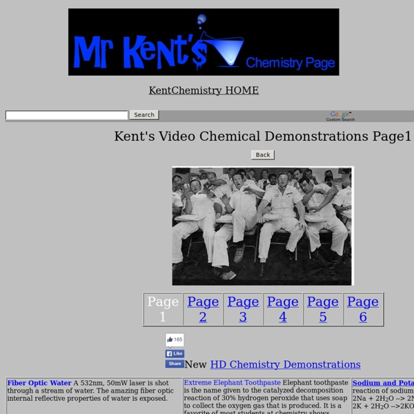 Kent's Chemical Demonstrations Movies Page 1