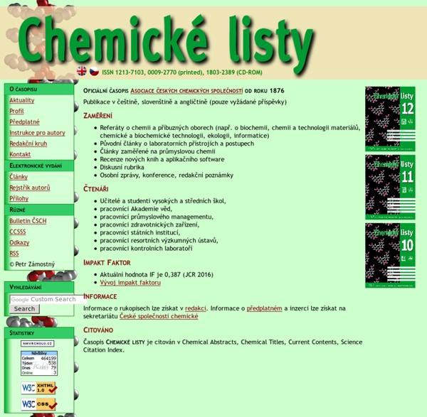Chemické listy - Oficiální časopis České společnosti chemické