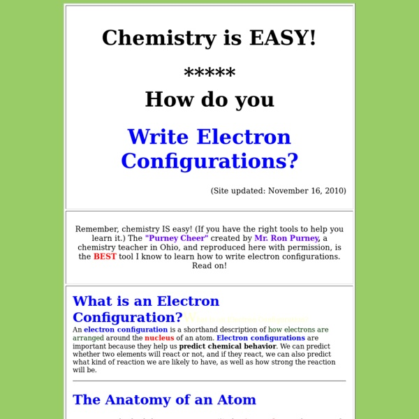 Chemistry is EASY! How do you write electron configurations?