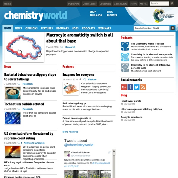 Chemistry news, reviews and opinion