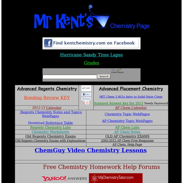 Mr. Kent's Chemistry Regents Help and AP Chemistry Exam Review Pages