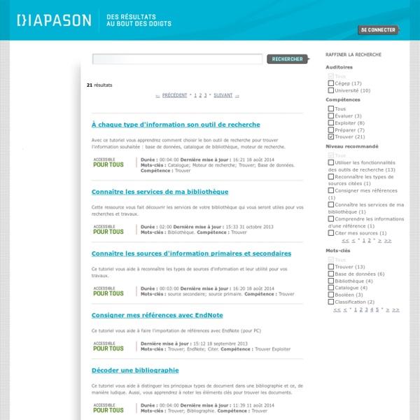 Chercher des ressources - Diapason