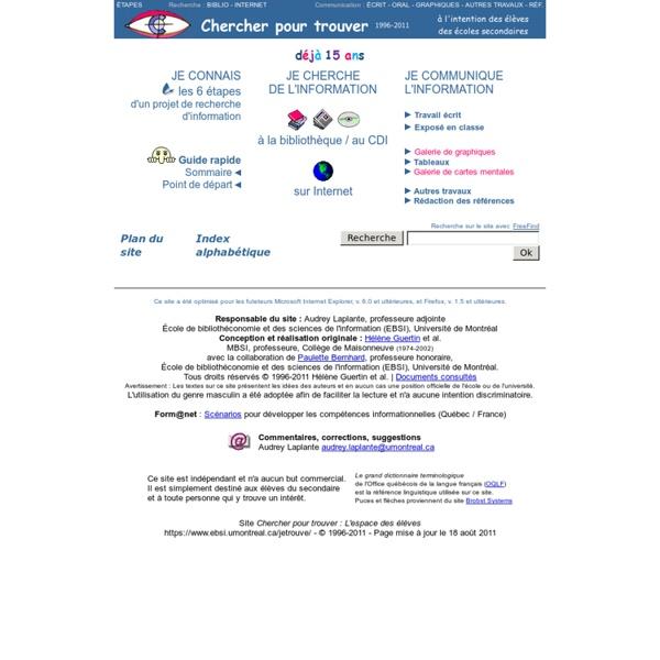 Chercher pour trouver 1996-2011
