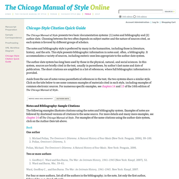 Chicago manual style of citation