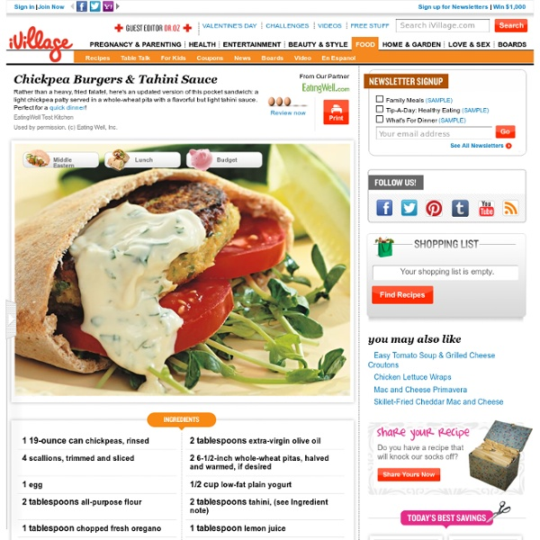 Chickpea Burgers & Tahini Sauce -EW
