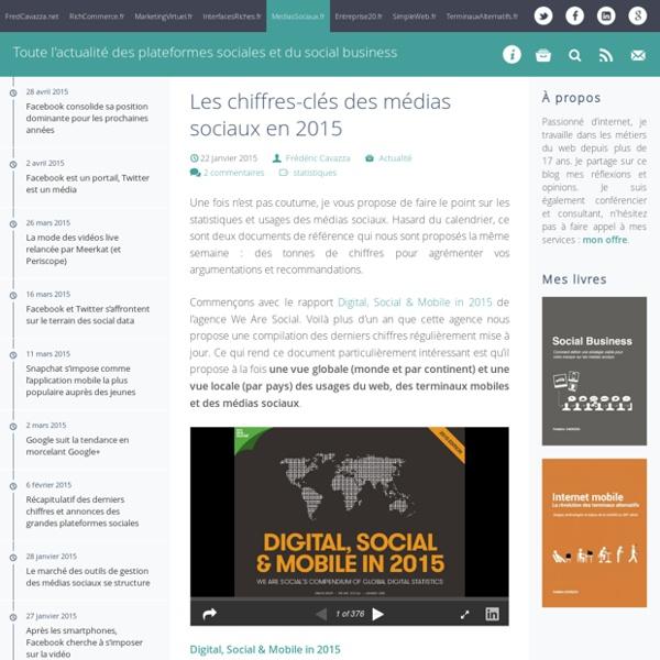 Les chiffres-clés des médias sociaux en 2015