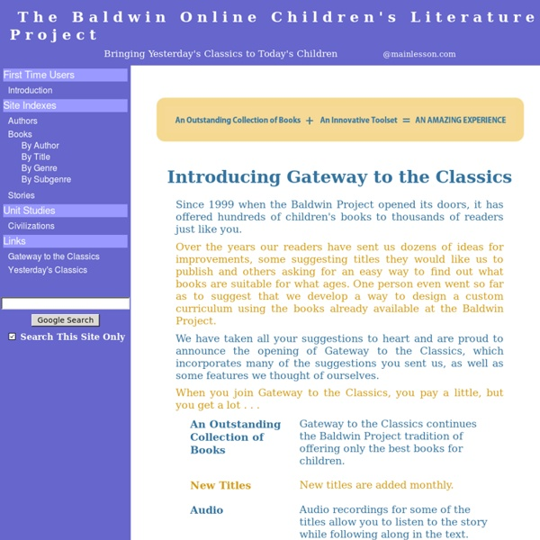The Baldwin Online Children's Literature Project...Bringing Yesterday's Classics to Today's Children