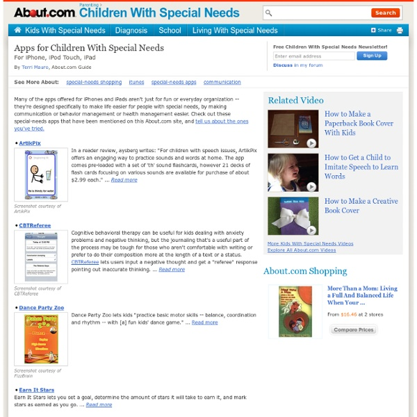 Apps for Children With Special Needs - iPhone, iPod Touch, iPad Apps for Special Needs