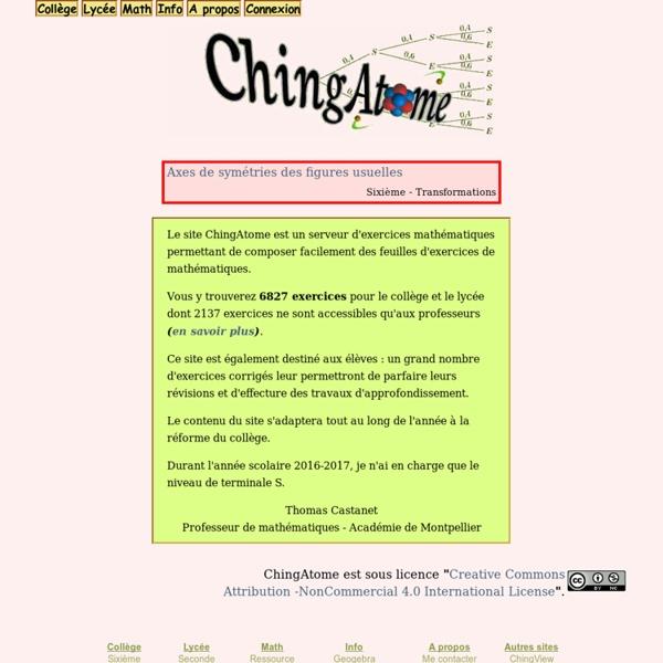 ChingAtome - serveur d'exercices mathématiques