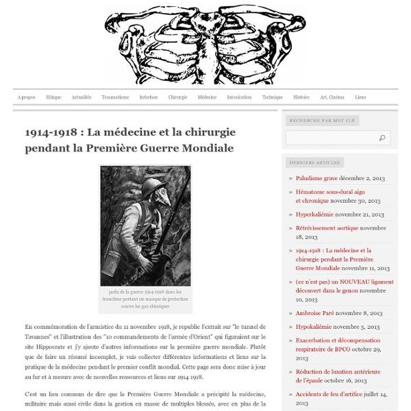1914-1918 : La médecine et la chirurgie pendant la Première Guerre Mondiale