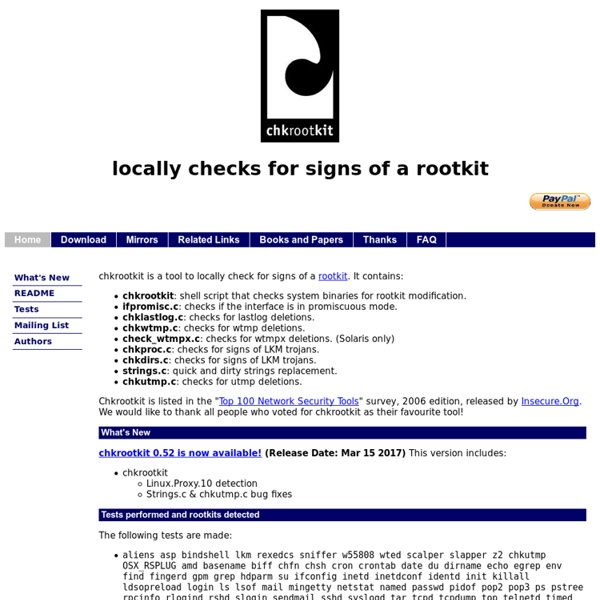Locally checks for signs of a rootkit