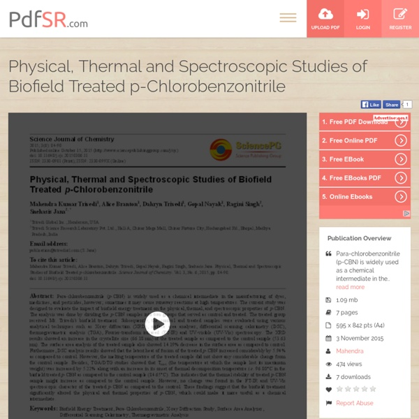 Physical, Thermal and Spectroscopic Studies of Biofield Treated p-Chlorobenzonitrile
