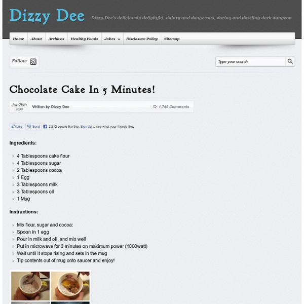 Chocolate Cake In 5 Minutes! — Dizzy Dee