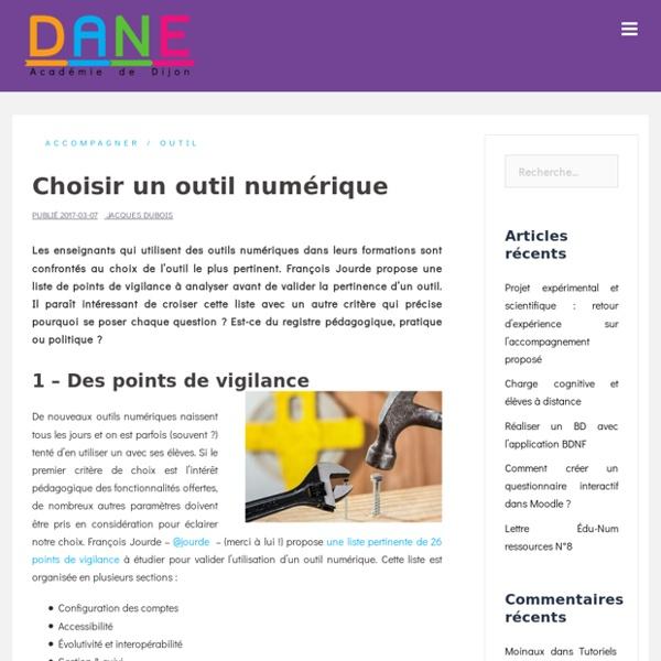 Choisir un outil numérique – Délégation Académique au Numérique Éducatif