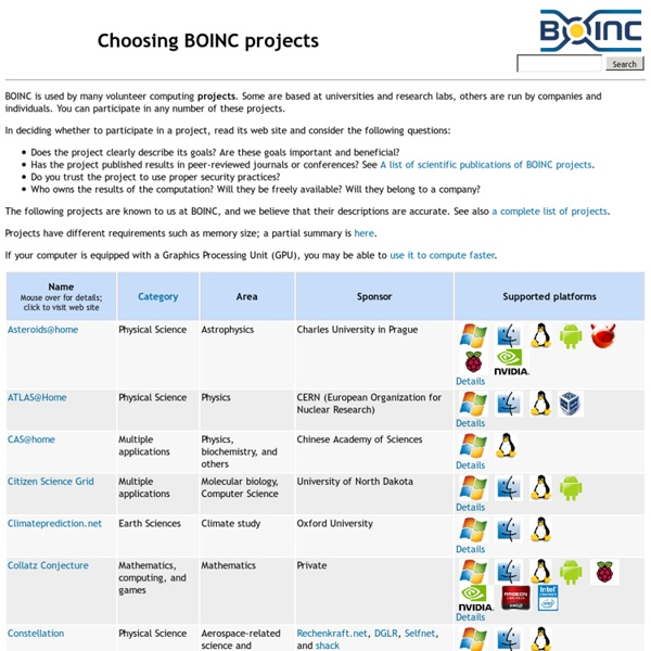 Choosing BOINC projects
