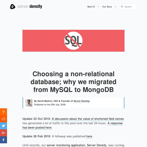 Choosing a non-relational database. MySQL to MongoDB - Server Density