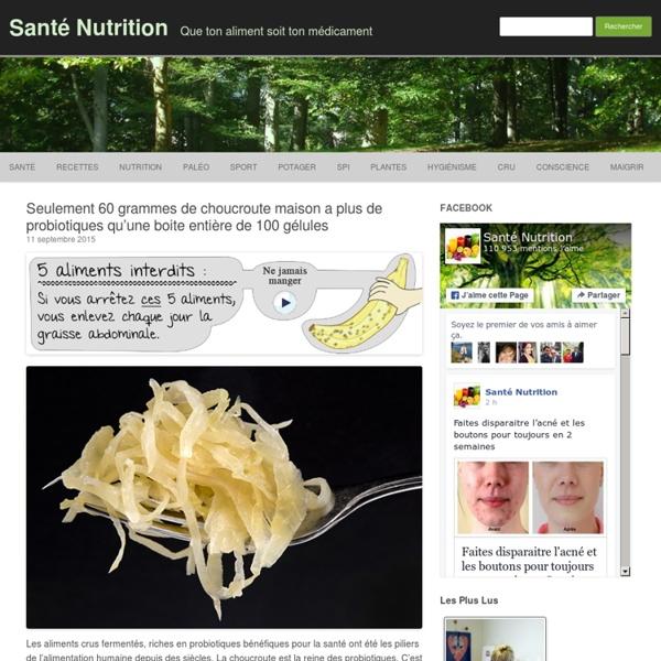Seulement 60 grammes de choucroute maison a plus de probiotiques qu'une boite entière de 100 gélules