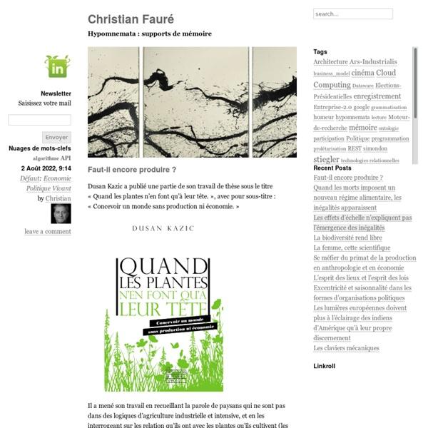 Christian Fauré — Hypomnemata : supports de mémoire