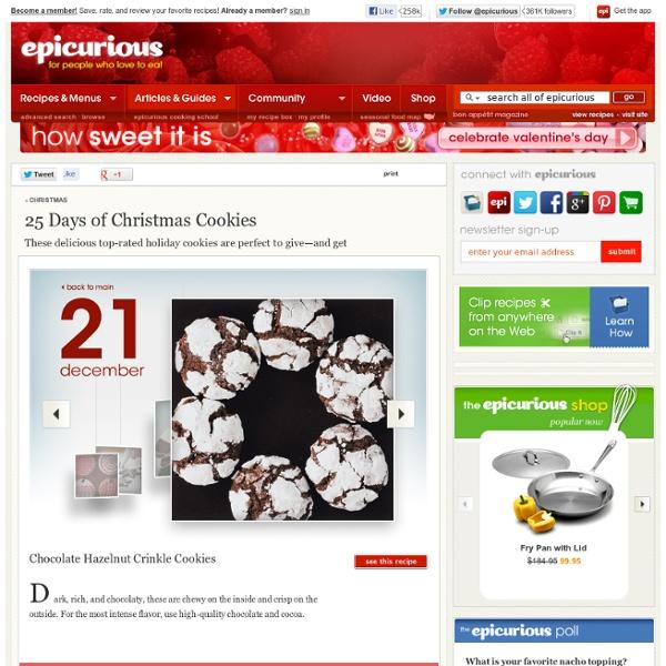 25 Days of Christmas Cookies Christmas at Epicurious.com - StumbleUpon