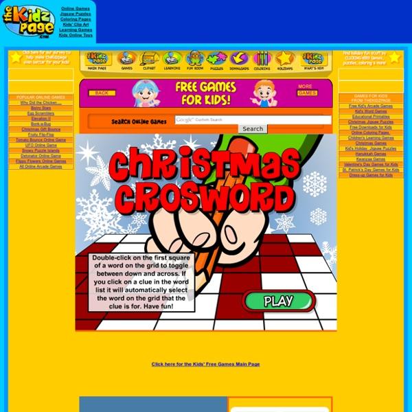 Christmas Crossword Game - Free Kids Games from theKidzpage.com
