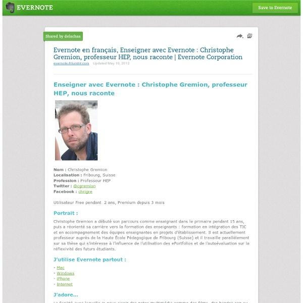 En français, Enseigner avec Evernote : Christophe Gremion, professeur HEP, nous raconte
