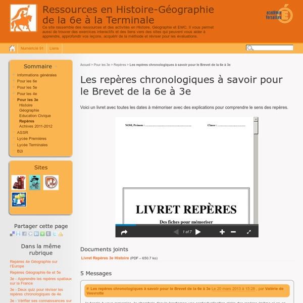 Les repères chronologiques à savoir pour le Brevet de la 6e à 3e - Ressources en Histoire-Géographie de la 6e à la 3e
