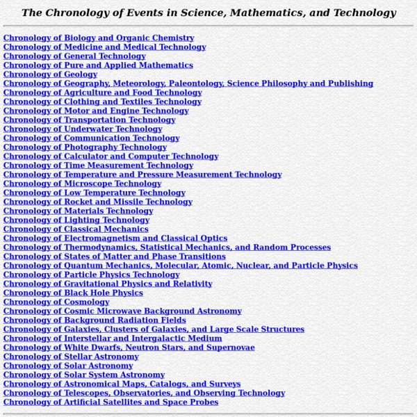 Chronology of Events in Science, Mathematics, and Technology