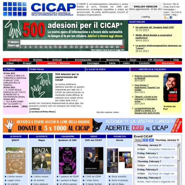 CICAP - Home Page [Comitato Italiano di Controllo delle Affermazioni sul Paranormale]