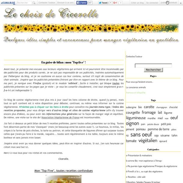 Le choix de Cicerolle - Blog de cuisine végétarienne