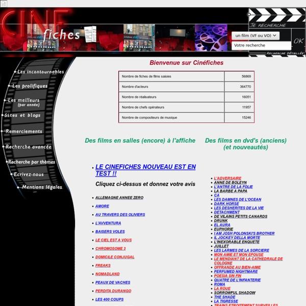 CINEFICHES : Cinéma, DVD,