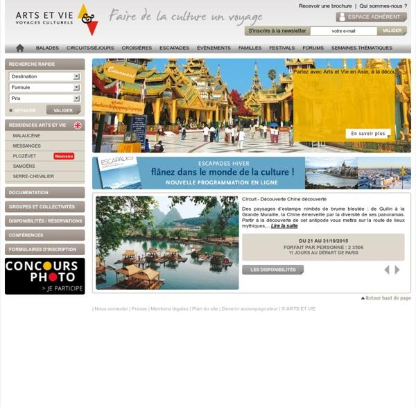 ARTS ET VIE, circuits, croisières et voyages culturels