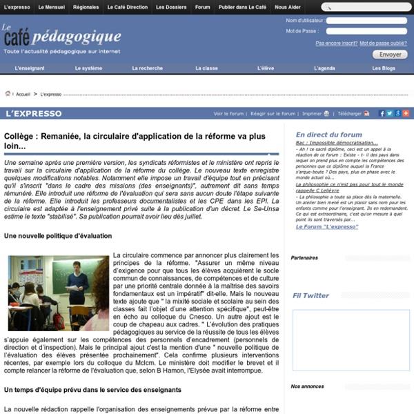Collège : Remaniée, la circulaire d'application de la réforme va plus loin...