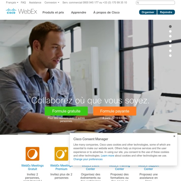 Conférence Web, réunions en ligne, partage de bureau, conférence vidéo Cisco WebEx
