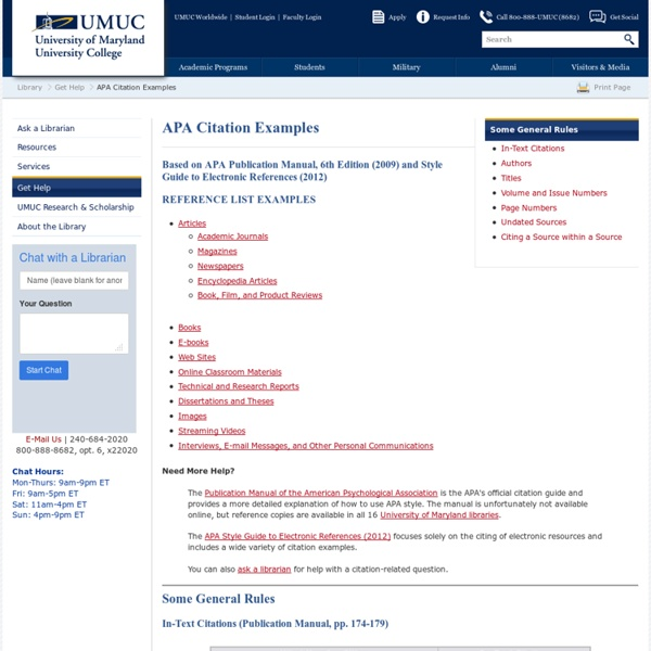 APA Citation Examples - UMUC Library
