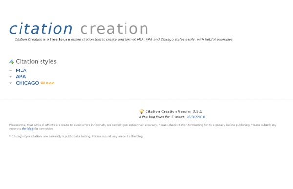 Citation creation - Create APA, MLA and Chicago citations or bibliographies online