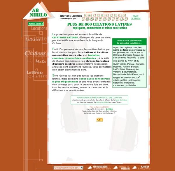 Ab nihilo : citations latines, locutions, expressions