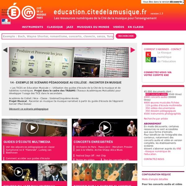 Education.citedelamusique.fr - La Cité de la musique en ligne pour l'enseignement