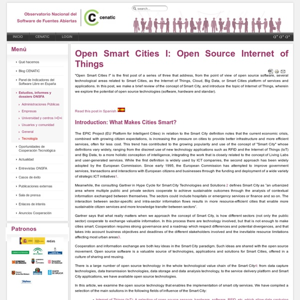 Open Smart Cities I: Open Source Internet of Things - Open Smart Cities I: Open Source Internet of Th...