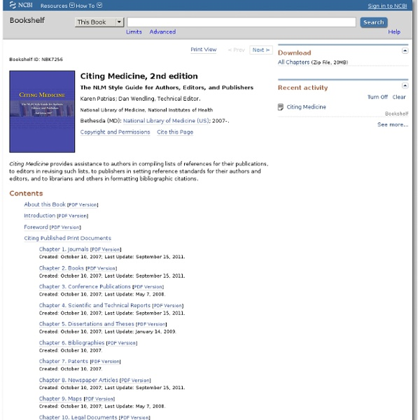 Citing Medicine - NCBI Bookshelf