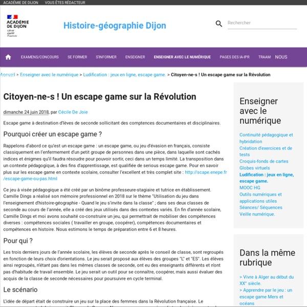 Citoyen-ne-s ! Un escape game sur la Révolution
