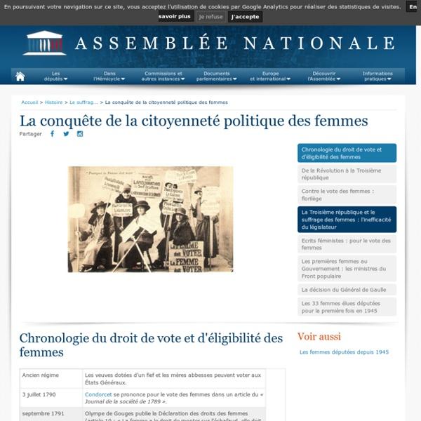 La conquête de la citoyenneté politique des femmes - Le suffrage universel - Histoire