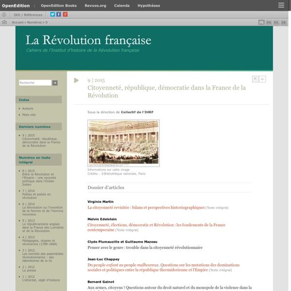 """""""Citoyenneté, république, démocratie dans la France de la Révolution"""" 2015, Revue La Révolution française"""