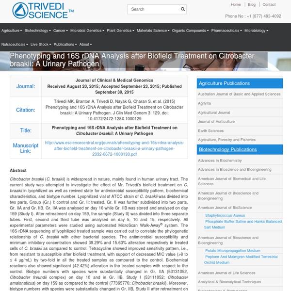 16S rDNA Analysis of Citrobacter Braakii