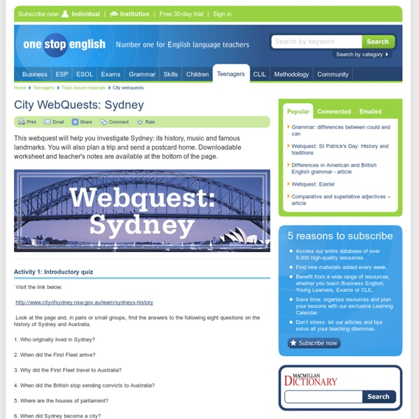 City WebQuests: Sydney: history and traditions